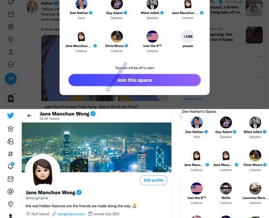 Twitter Spaces sound rooms are being tried for the  desktop and web application
