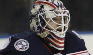 Columbus Blue Jackets' Matiss Kivlenieks regarded before Stanley Cup Game 4
